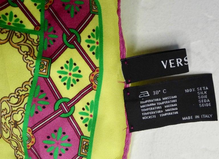 Versace 2000s Neon Medusa Silk Scarf  For Sale 2