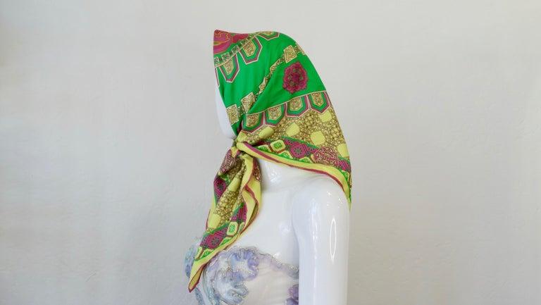 Versace 2000s Neon Medusa Silk Scarf  For Sale 3