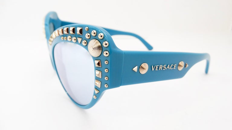 Gray Versace 2000s Studded Cat-Eye Sunglasses For Sale
