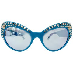 Versace 2000s Studded Cat-Eye Sunglasses