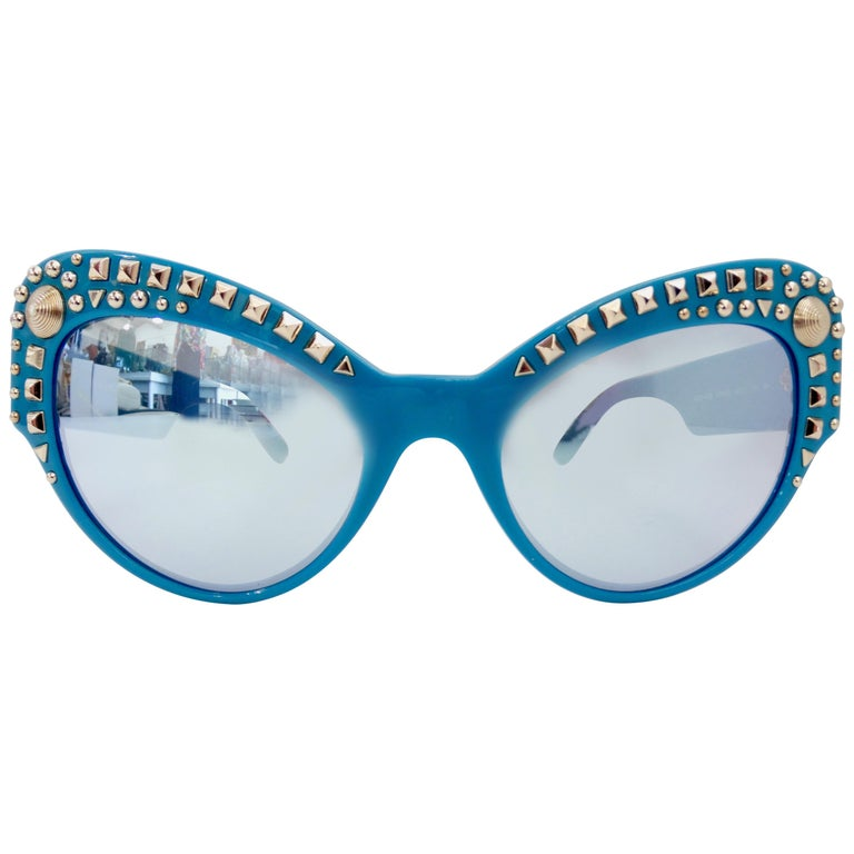 Versace 2000s Studded Cat-Eye Sunglasses For Sale
