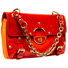 Versace 2010 Collection Patent Leather Red & Gold Handbag