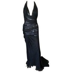 Versace $20,905 F/W 2006 Runway Black Plunging Neckline Embellished Dress Gown