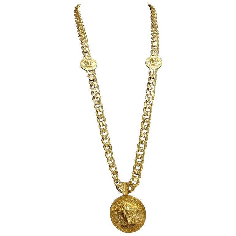 VERSACE 24K GOLD PLATED MEDUSA NECKLACE as seen on BRENNEN For Sale