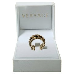 VERSACE 24K GOLD PLATED MEDUSA RING w/BLACK INSERTS size 10.5