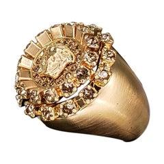 VERSACE 24K PLATED BRUSHED GOLD MEDUSA RING size 7, 10