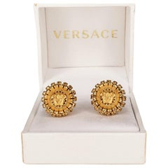 VERSACE 24K PLATED BRUSHED GOLD MEDUSA Yellow CRYSTAL EARRINGS
