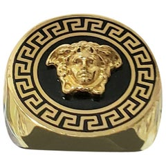 VERSACE 24K PLATED GOLD MEDUSA BLACK GREEK INSERTS RING size 9