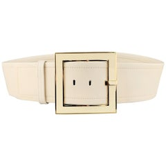 VERSACE 34 Cream Leather Gold Tone Enamel Square Buckle Belt