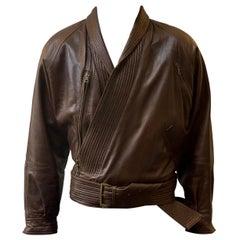 Versace 90s Kimono Wrap Belt Leather Jacket