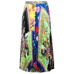 Versace Acid Bloom Multicolor Floral Print Pleated High Waist Midi Skirt Size 38