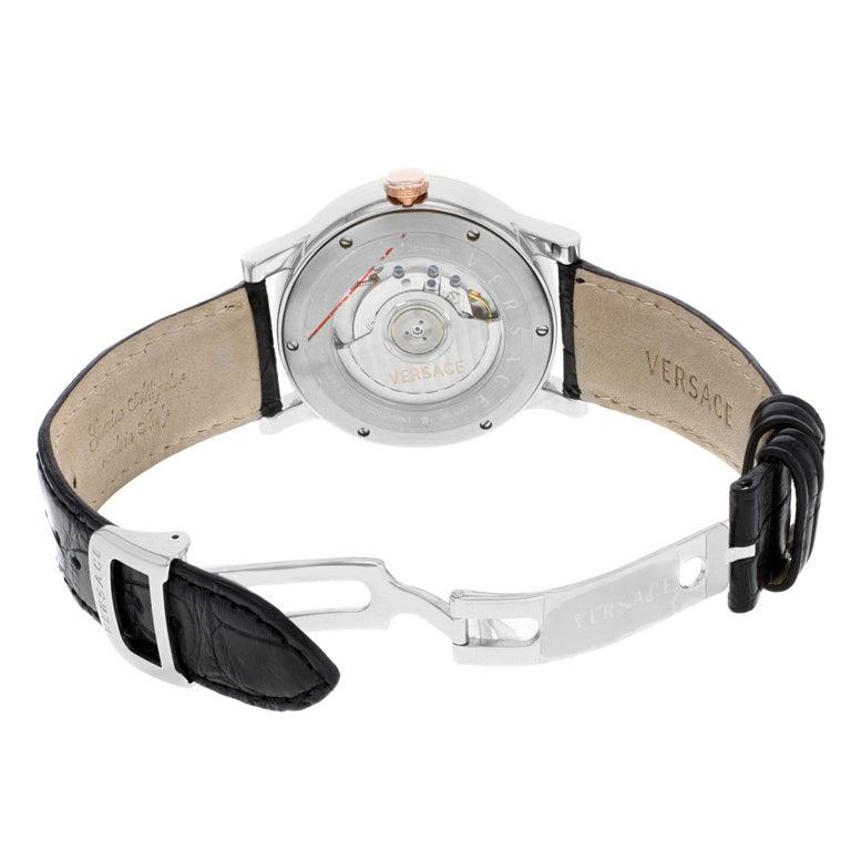 Men's Versace Acron Big S009 18K Gold Black Dial Steel Automatic Mens Watch 18A99OD009 For Sale