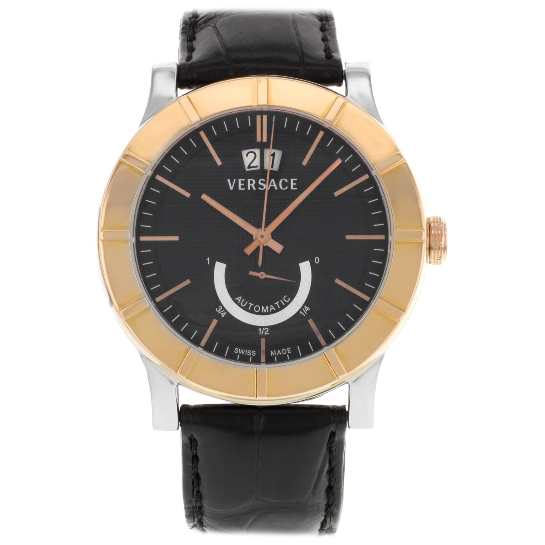 Versace Acron Big S009 18K Gold Black Dial Steel Automatic Mens Watch 18A99OD009