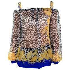 VERSACE ANIMAL and SEASHELL PRINT CHIFFON SILK OFF SHOULDER TOP