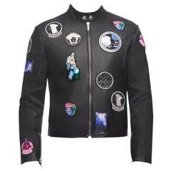 Versace Astronaut Patch Lamb Leather Biker Jacket for Men