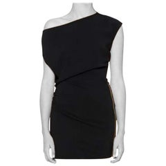VERSACE ASYMMETRICAL BLACK CREPE DRESS with SIDE ZIPPER DETAIL 38, 40, 42