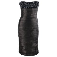 VERSACE Atelier A/W 2005 Black Leather Beaded Sequin Strapless Corset Dress
