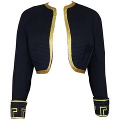 VERSACE ATELIER BLACK SHORT JACKET with GOLD TRIM