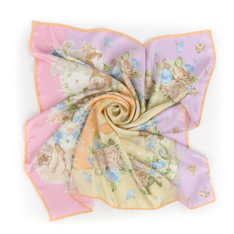 VERSACE ATELIER c.1990s Pastel Rococo Baroque Rose Bouquet Silk Square Scarf  Circa: 1990's   Brand / Manufacturer: Atelier Versace Designer: Gianni Versace Style: Square scarf Color(s): Shades of pastel pink, purple, yellow, orange, green, orange,