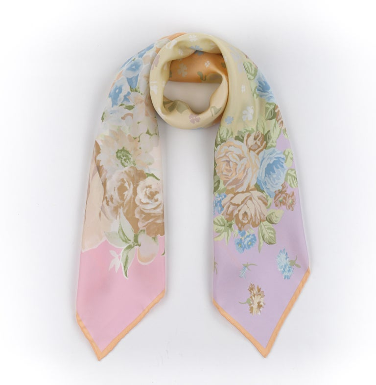 VERSACE ATELIER c.1990s Pastel Rococo Baroque Rose Bouquet Silk Square Scarf In Good Condition For Sale In Thiensville, WI