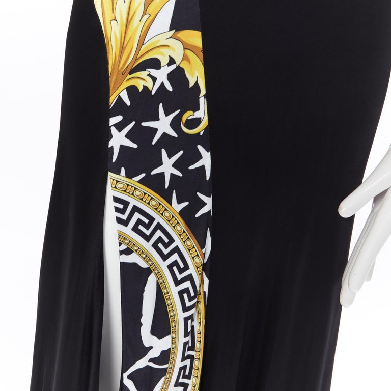 VERSACE AW19 black viscose gold baroque greca paneled draped hem dress IT40 S Brand: Versace Designer: Donatella Versace Collection: Fall Winter 2019 Model Name / Style: Cocktail dress Material: Viscose Color: Black Pattern: Floral; baroque and