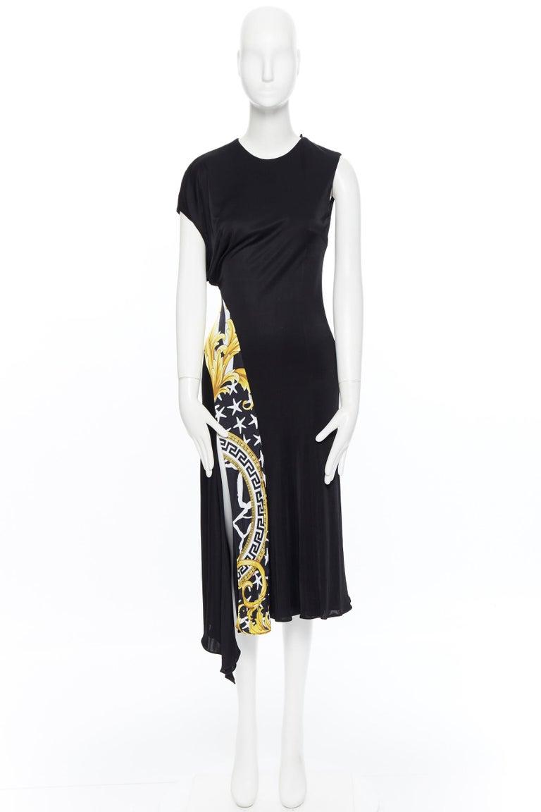 Black VERSACE AW19 black viscose gold baroque greca paneled draped hem dress IT40 S For Sale