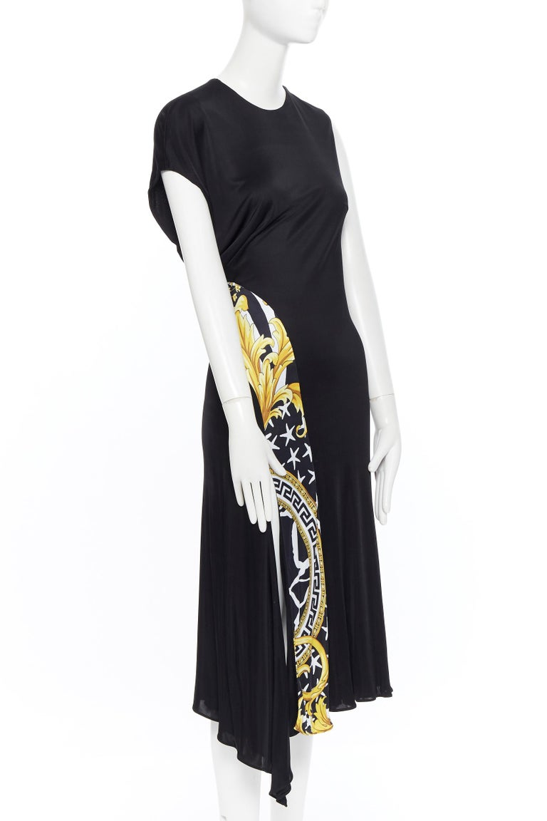 VERSACE AW19 black viscose gold baroque greca paneled draped hem dress IT40 S In Excellent Condition For Sale In Hong Kong, NT
