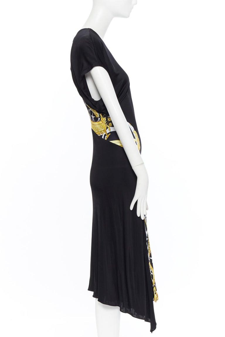 Women's VERSACE AW19 black viscose gold baroque greca paneled draped hem dress IT40 S For Sale