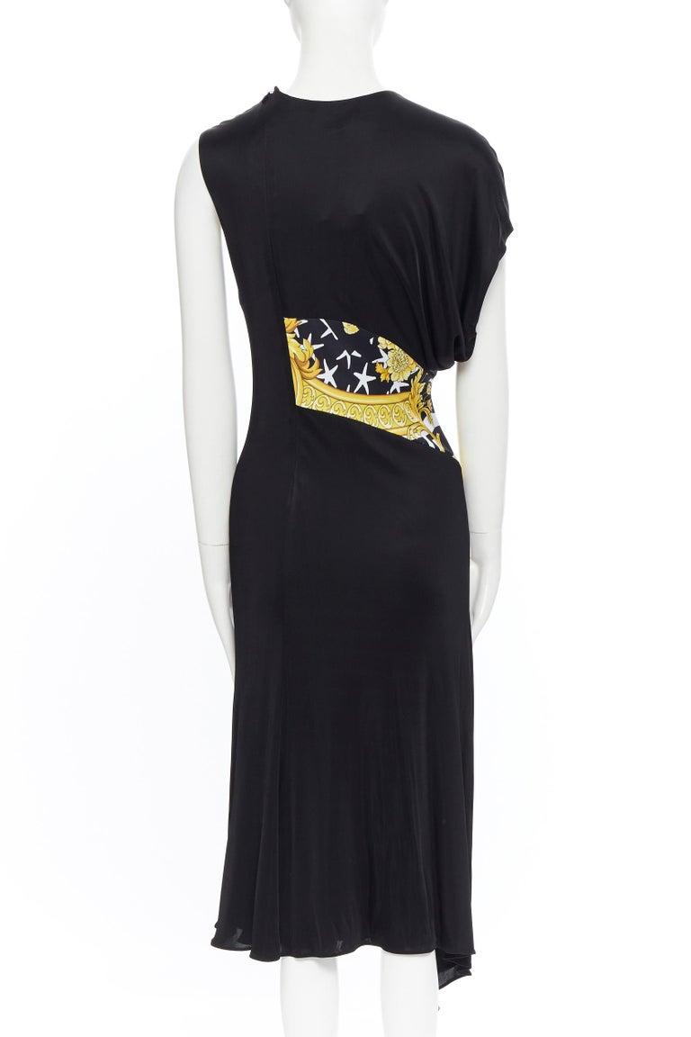 VERSACE AW19 black viscose gold baroque greca paneled draped hem dress IT40 S For Sale 1