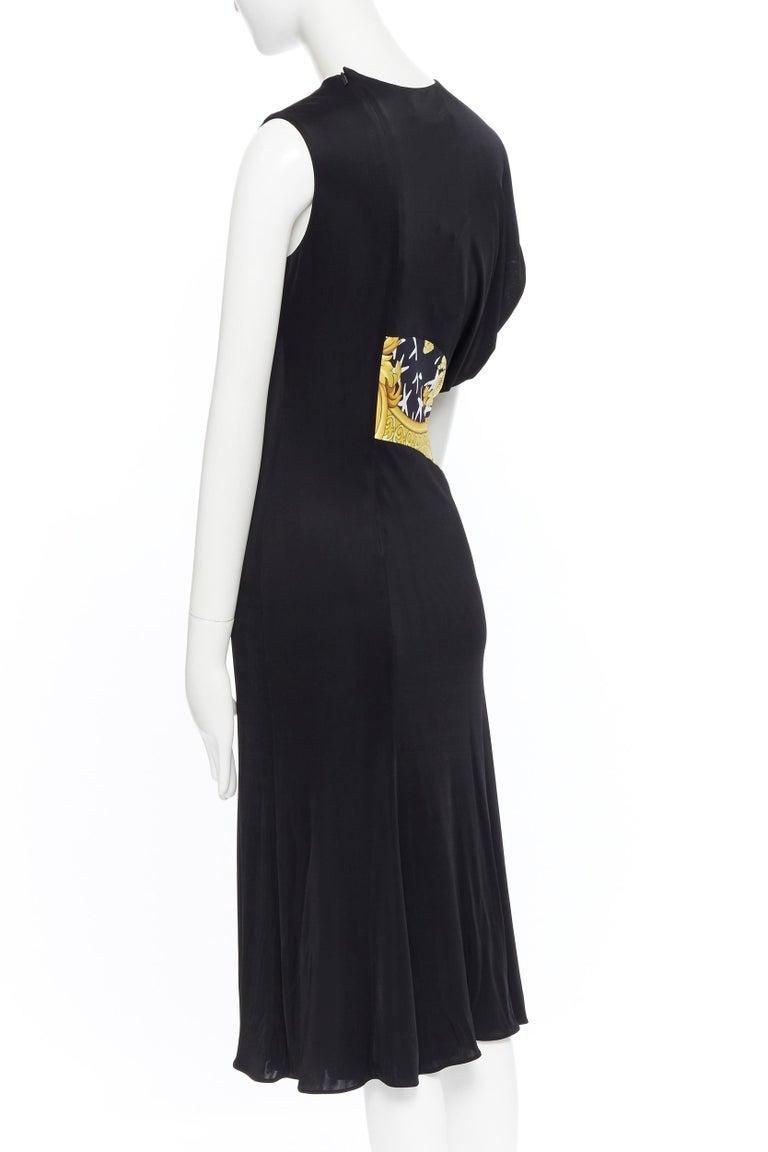 VERSACE AW19 black viscose gold baroque greca paneled draped hem dress IT40 S For Sale 2