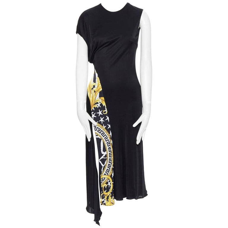 VERSACE AW19 black viscose gold baroque greca paneled draped hem dress IT40 S For Sale