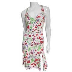 Versace Backless Butterflies and Flowers Silk Dress