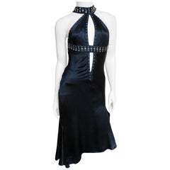 Versace Backless Silk Dress with Studs