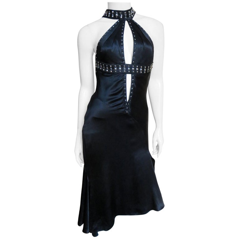 Versace Backless Silk Dress with Studs For Sale