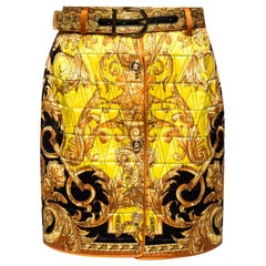 Versace Barocco Femme Print High Waisted Button Down Quilted Silk Skirt Size 38