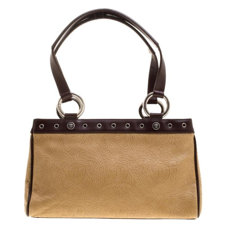 Versace Beige and Brown Medusa Embossed Leather Tote at 1stdibs 6fdae43bfe021