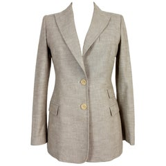 Versace Beige Cotton and Linen Slim Fit Blazers Jacket 1990s Rabbit Hair Insert