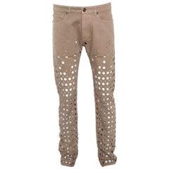 Versace Beige Denim Perforated Straight Leg Jeans L