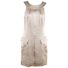 Versace Beige Halter Shift Dress 2006 Fall Collection Size 42 IT