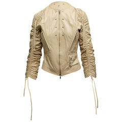 Versace Beige Leather Jacket & Skirt Set