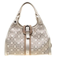 Versace Beige Metallic Canvas, Leather and Suede Trim Satchel