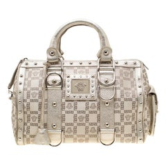 Versace Beige Metallic Signature Fabric and Leather Snap Out Of It Satchel