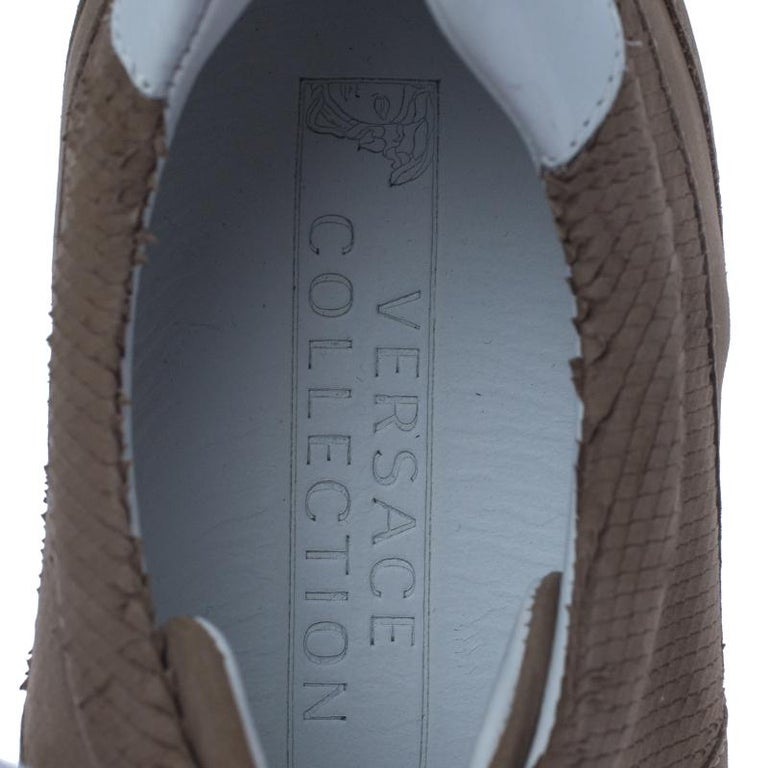 Women's Versace Beige Nubuck Leather Lace Up Sneakers Size 44 For Sale