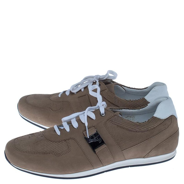 Versace Beige Nubuck Leather Lace Up Sneakers Size 44 For Sale 1