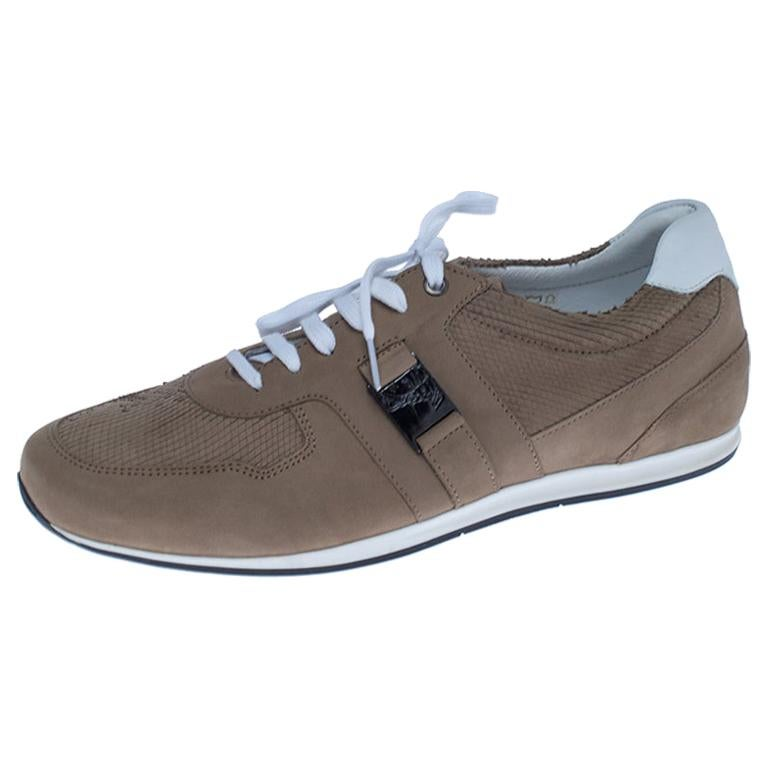 Versace Beige Nubuck Leather Lace Up Sneakers Size 44 For Sale