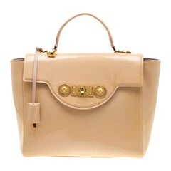 Versace Beige Patent Leather Icon Tote