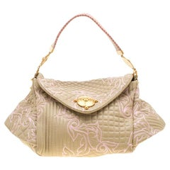 Versace Beige/Pink Quilted Barocco Leather Top Handle Bag