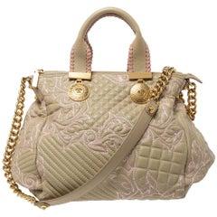 Versace Beige/Pink Quilted Leather Vanitas Satchel