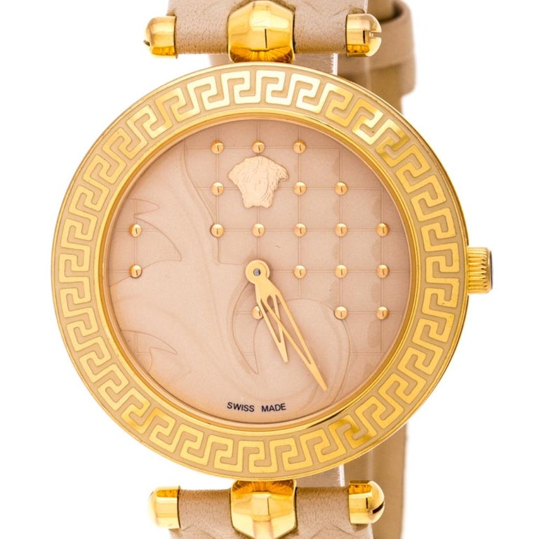 Contemporary Versace Beige Rose Gold Plated Stainless Steel Vanitas VK7 Women's Wristwatch 40 For Sale