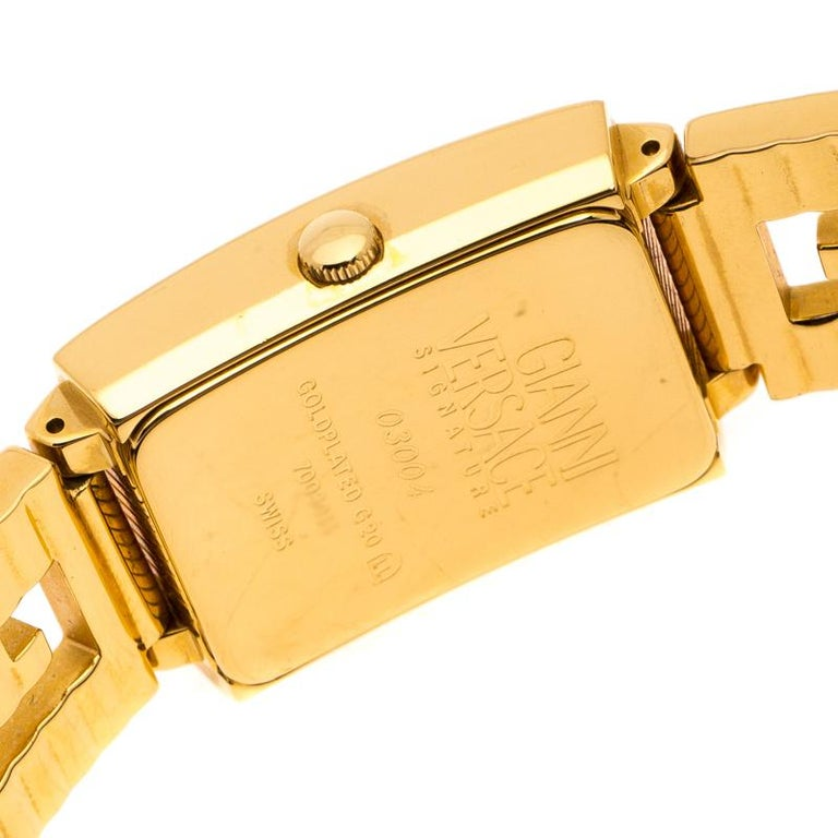 Contemporary Versace Black 18K Yellow Gold Plated Stainless Steel Signature Wristwatch 25 mm For Sale
